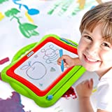 MegaToyBrand Magna Doodle Magnetic Drawing Board for Kids - The Manga drawing Board Features a Extra Large Writing Board with 8 color zones & Erasable slider to etch a sketch for all kids ages 2 - 13