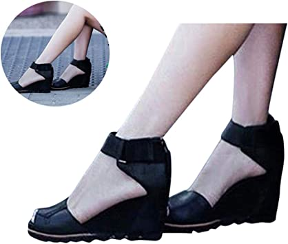 Women Wedge Roman Sandals NDGDA Ladies Retro Open Toe Ankle Flats Shoe Buckle-Strap Sandals Shoes
