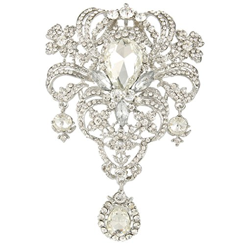 Crystal Flower Bouquet Tear Drop Pendant Brooch Clear Silver-Tone ()