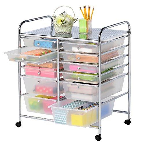 Finnhomy 12 Drawer Rolling Cart Organizer Storage Cart