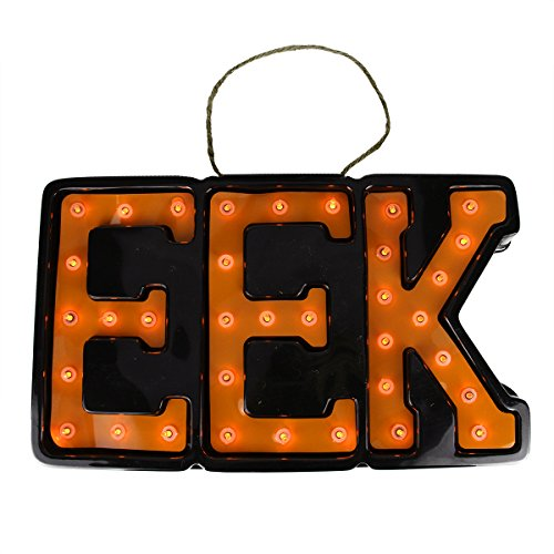 Northlight Seasonal Lighted Black and Orange EEK Hanging