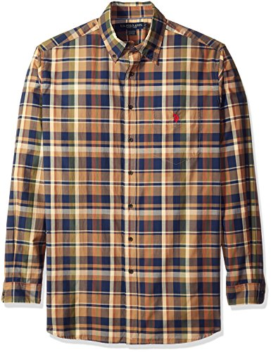 U.S. Polo Assn. Men's Big and Tall Long Sleeve Sporty Plaid Poplin Woven Shirt