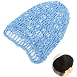 TINKSKY Hair Net Snood Cover Rayon Net Hair Net For Sleeping Crochet Hairnet (Sky-Blue)