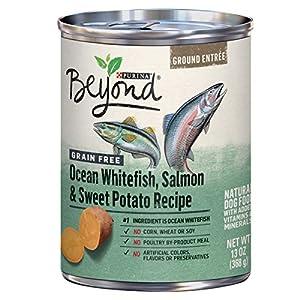 Purina Beyond Grain Free Pate Wet Dog Food, Grain Free Ocean Whitefish, Salmon & Sweet Potato – (12) 13 oz. Cans