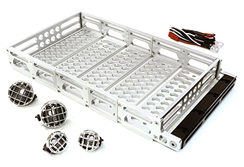 Integy RC Model Hop-ups C26894SILVER Realistic 1/10 Scale Alloy Luggage Tray 192x106x24mm with 4 LED Spot Light Set