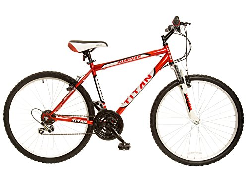Titan Pathfinder Mens 18-Speed All Terrain Mountain Bike with Front Shock Suspension