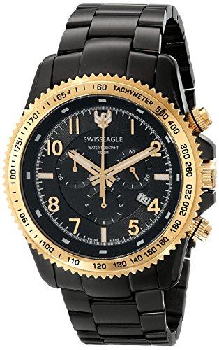 Swiss Eagle Men's SE-9044-55 Land Master Analog Display Swiss Quartz Black Watch