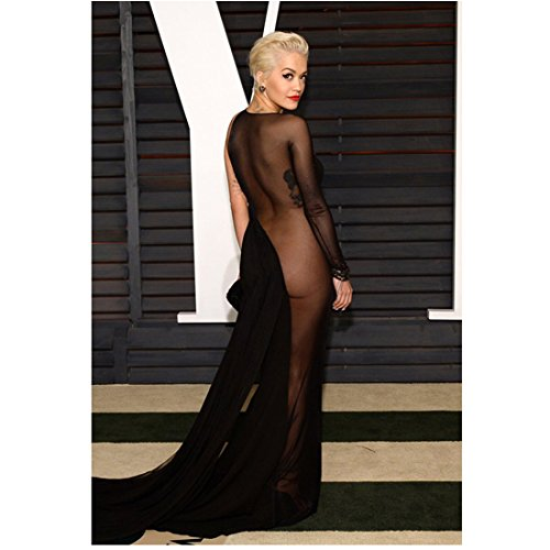 Rita Ora Photo 8 inch x 10 inch PHOTOGRAPH Who Knew Try Black Widow New York Raining Back View of See-Through Black Dress kn