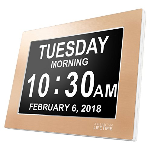 Premium Version - Day Clock - Extra Large Impaired Vision Digital Clock with Battery Backup & 5 Alarm Options (Limited Edition Gold Color, Metal - Gold Frame Large Extra
