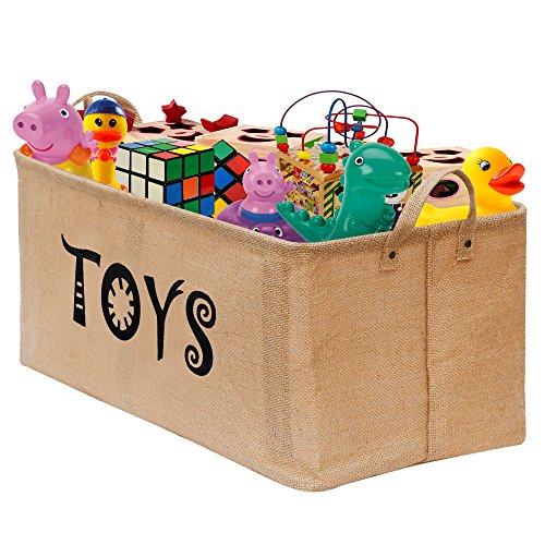 "gimars easy carrying 22x12"" well standing toy chest baskets storage bins for dog toys, kids & children toys, blankets, clothes - perfect for playroom & living room"