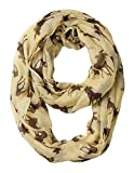 GERINLY Animal Circle Scarves: Cute Moose Print Infinity Loop Scarf (Beige)