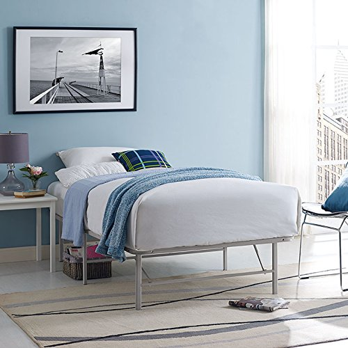 Modway Horizon Twin Bed Frame in Gray - Replaces Box Spring - Folding Portable Metal Mattress Bed Frame with Storage - Low Profile - Heavy Duty by Modway