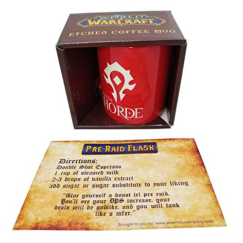 World of Warcraft Horde Etched Ceramic Coffee Mug, Red, 11 ounces, with Recipe Card