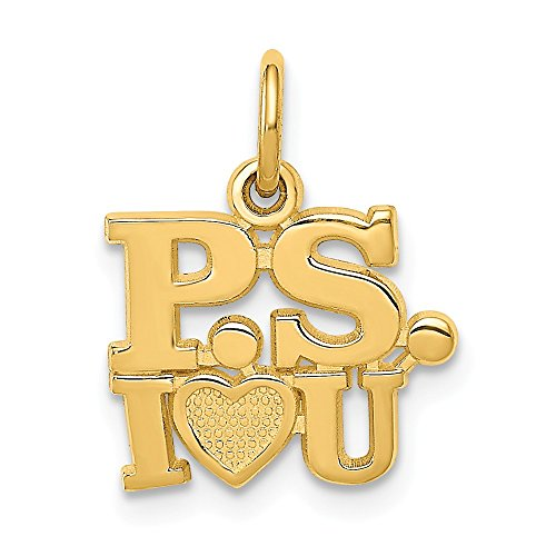 14k Yellow Gold P.s. I Love You Pendant Charm Necklace S/love Message Fine Jewelry Gifts For Women For Her