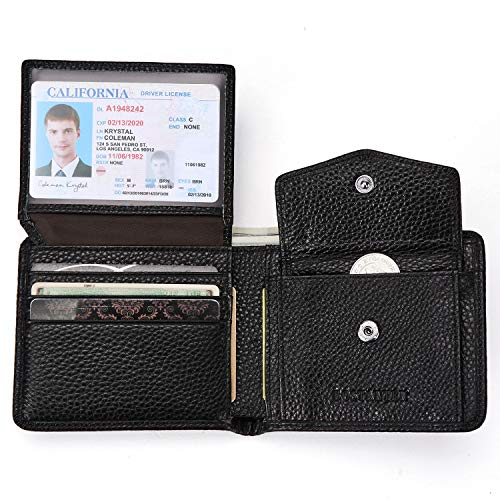BOSTANTEN Genuine Leather Wallets for Men Bifold RFID Blocking Wallet with 2 ID Window Black (Wallet With Coins Pocket)