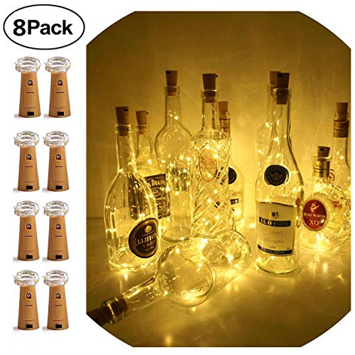Wine Bottle Lights with Cork,LoveNite 8 Pack Battery Operated 15 LED Cork Shape Copper Wire Colorful Fairy Mini String Lights for DIY,Party,Decor,Halloween,Wedding