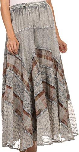 Sakkas 15320 - Hailes Long Tall Wide Silver Embroidered Batik Adjustable Waist Skirt - Grey - OS