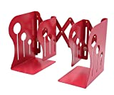 Leoyoubei Steel Extensible Bookends Decoration Office Books Holder Bookends, Portable Library School Office Supplies (large, red)