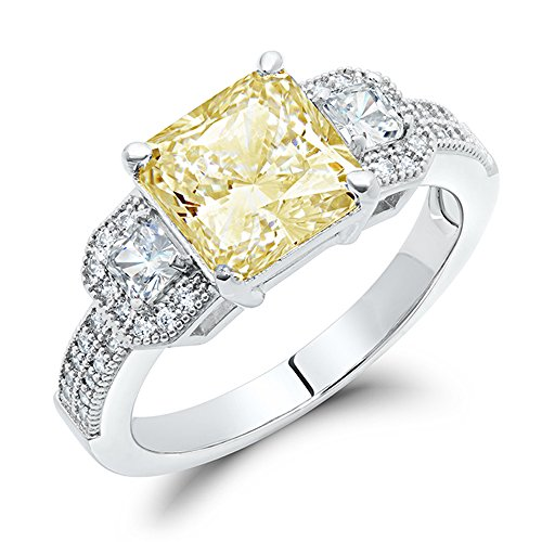 Sterling Silver Canary Yellow Cubic Zirconia Princess Cut Engagement Ring