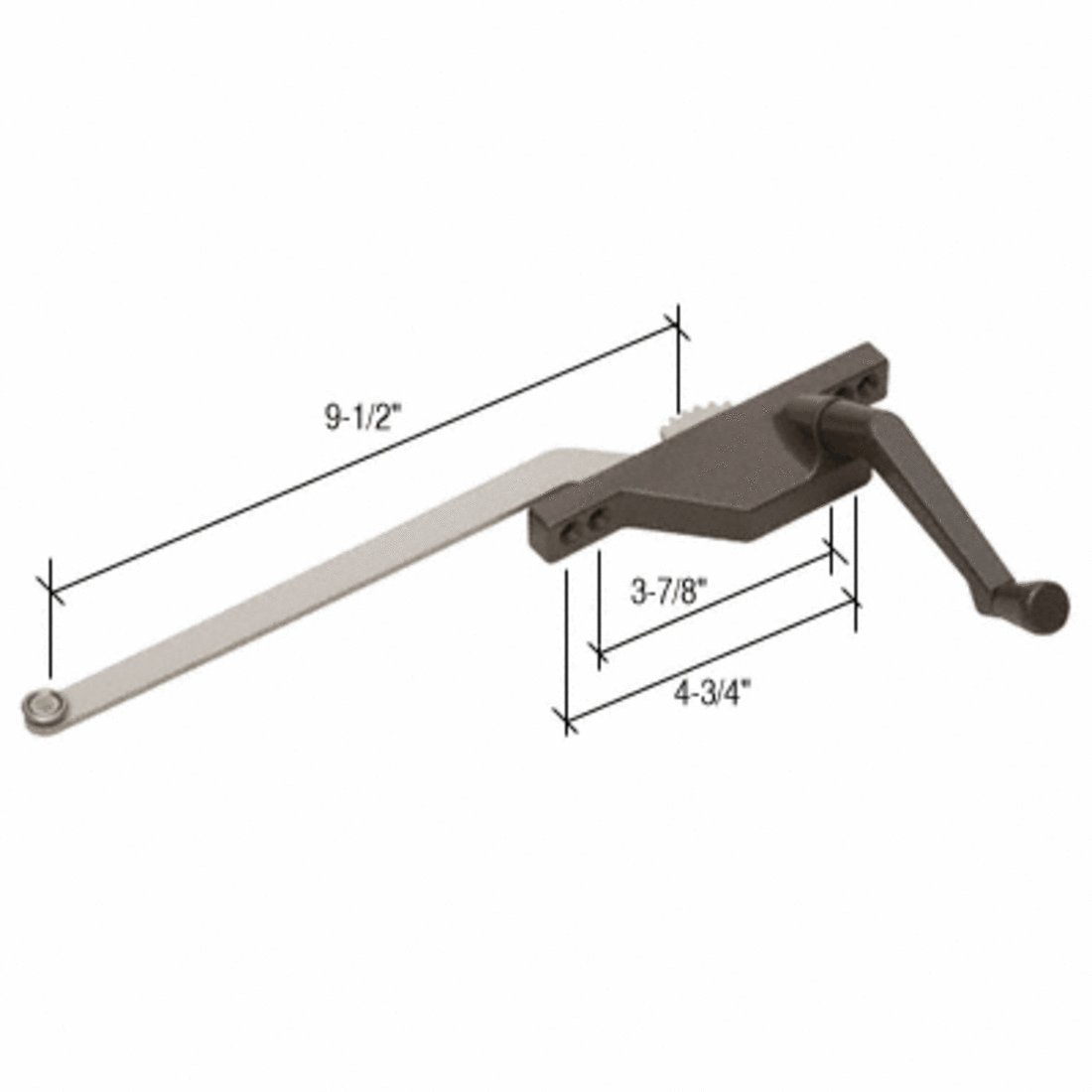 CRL Right Hand Bronze Casement Window Operator Face Mount with 9'' Arm