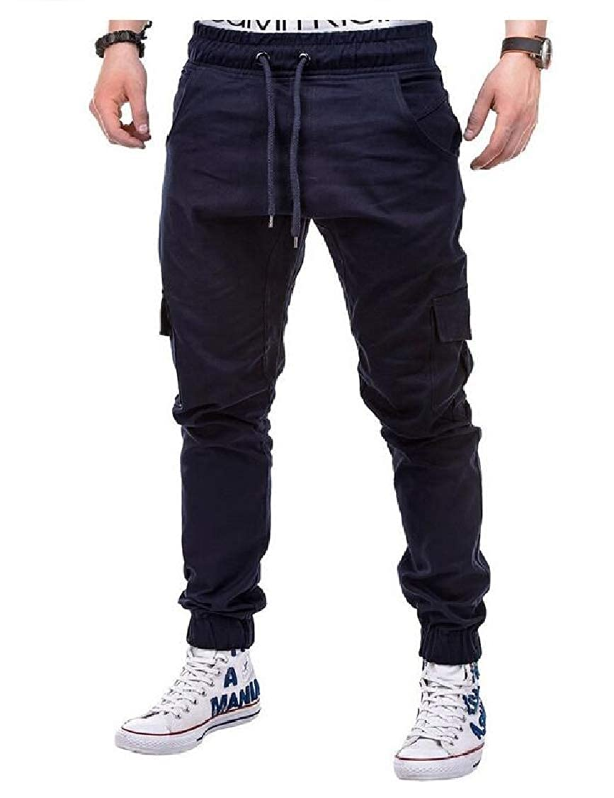 pipigo Mens Slim Juniors Sports Elastic Waist Jogging Solid Color Pants