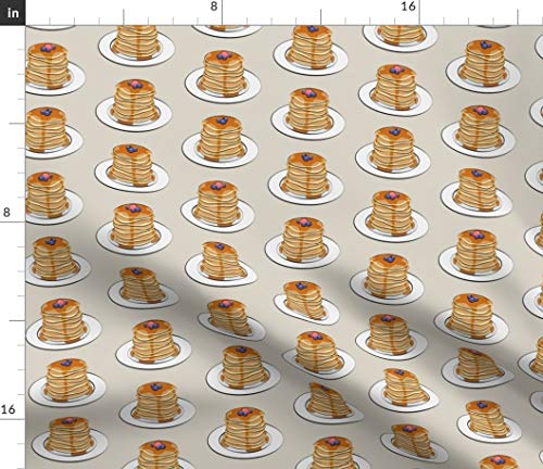Beige Signature Flap - Spoonflower Pancake Breakfast Fabric - Flapjack Stack Berries Pancakes Food Breakfast Hotcake Flapjack Syrup by Littlearrowdesign Printed on Petal Signature Cotton Fabric by The Yard