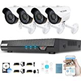 Tecbox Security Video Camera System 4CH 720P Security DVR with 500G HDD and 4 Weatherproof Surveillance Cameras Day & Night CCTV Camera System Motion Alert Video Camera Kit