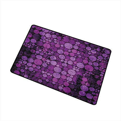 Wang Hai Chuan Indigo Commercial Grade Entrance mat Retro Style Vintage 60s 70s Inspired Dots Circles on Grunge Backdrop for entrances garages patios W19.7 x L31.5 Inch Eggplant Purple and Lilac -