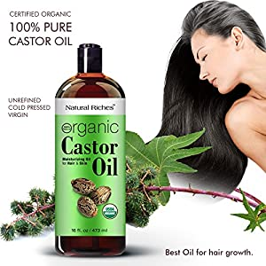 Thick Hair Organic Castor Oil Cold pressed for Hair Loss & Dandruff 100 % Pure, USDA Certified Hexane-Free 16 oz. Moisturizes Heals Dry Skin, For Scalp, Skin, Hair growth, Thicker Eyelashes & Eyebrows