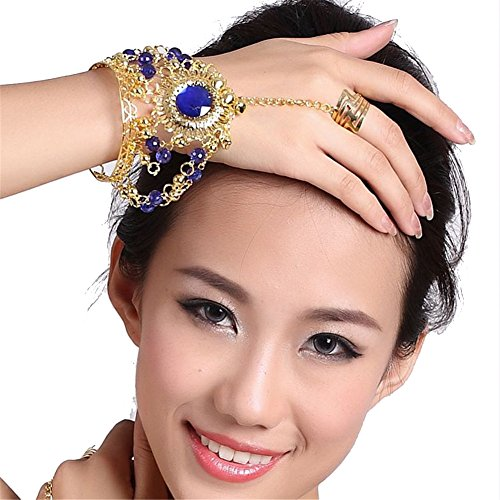 Belly Dance Accessories Dancing Large Diamond Ring Bracelet Costume Color dark blue (Belly Dance Costumes Large Ladies)