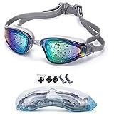 YJWB Swimming Goggles, Anti-Fog, No Leaking UV Protection, Triathlon Swimming Goggles Men/Women Children Swim Goggles, Grey