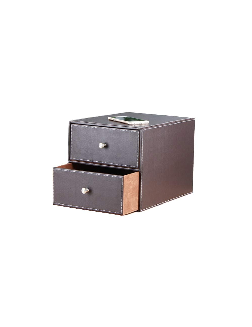 File Cabinet Family Desk Decoration Storage Box 2 Drawers Environmentally Friendly Leather Desk Organizer Filing cabinets