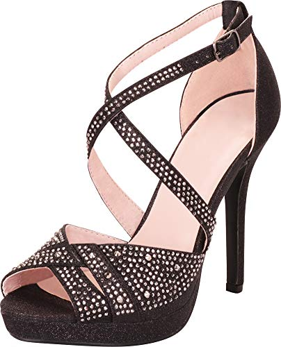Cambridge Select Women's Peep Toe Crisscross Strappy Crystal Rhinestone Platform Stiletto High Heel Sandal,7.5 B(M) US,Black Glitter