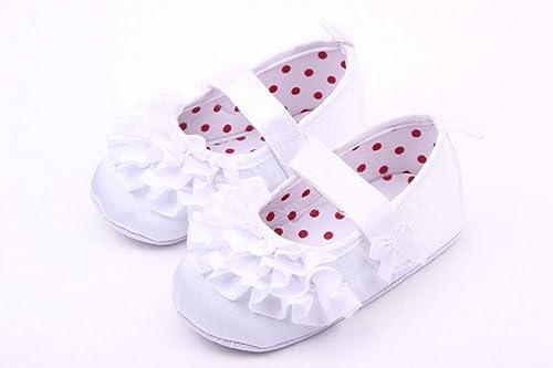 0aed784a54b2c Y-BOA Ballerine Bébé Fille Princesse Nœud Premier Pas Dentelle Douce  Baptême 0-12 Mois (Semelle 12cm