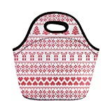 Semtomn Neoprene Lunch Tote Bag Scandinavian Nordic Winter Sweater Stitch Knit Pattern Including Star Xmas Reusable Cooler Bags Insulated Thermal Picnic Handbag for Travel,School,Outdoors, Work