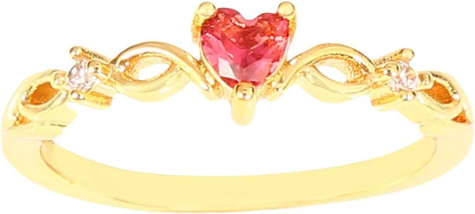 Jixing Anillo de Compromiso para Mujer con Piedras Preciosas en Forma de corazón, Cobre, Diamantes de imitación de Rosa Dorada, Talla: 11