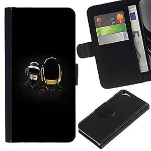 KLONGSHOP // Tirón de la caja Cartera de cuero con ranuras para tarjetas - Daft Band - Apple Iphone 6 //