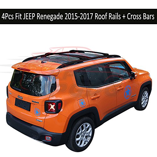 Fit for JEEP Renegade 2015 2016 2017 4Pcs Aluminium Roof Rail Roof Rack Cross Bars Crossbar - Black -  KPGDG, ZYXHGXLJH