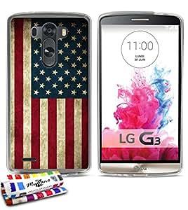 Carcasa Flexible Ultra-Slim LG G3 de exclusivo motivo [Bandera usa] [Transparente] de MUZZANO  + ESTILETE y PAÑO MUZZANO REGALADOS - La Protección Antigolpes ULTIMA, ELEGANTE Y DURADERA para su LG G3