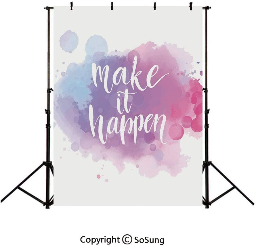 10x15Ft Vinyl Lifestyle Decor Backdrop for Photography,Make It Happen Hand Written Positive Quote in Paintbrush Motivational Art Background Newborn Baby Photoshoot Portrait Studio Props Birthday Party