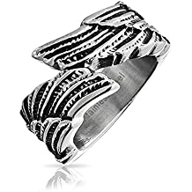 Unisex Feather Angel Wing Band Stainless Steel Ring