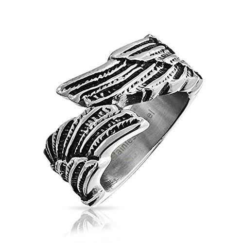 Bling Jewelry Unisex Feather Angel Wing Band Stainless Steel - Rings Mens Jewelry Bling