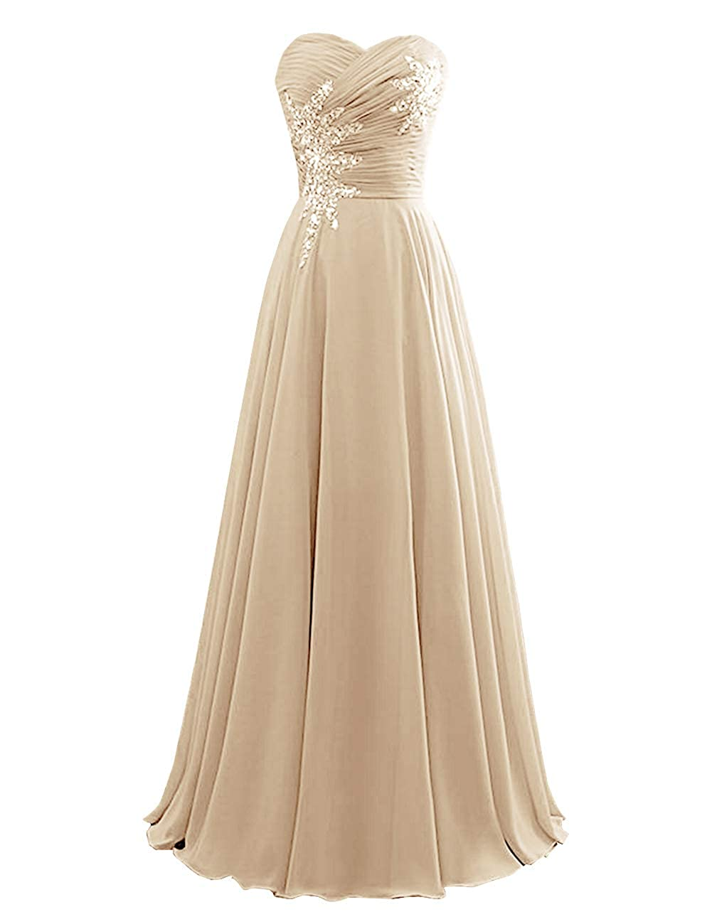 Champagne Women's Strapless Bridesmaid Dresses Beaded Prom Wedding Party Gowns