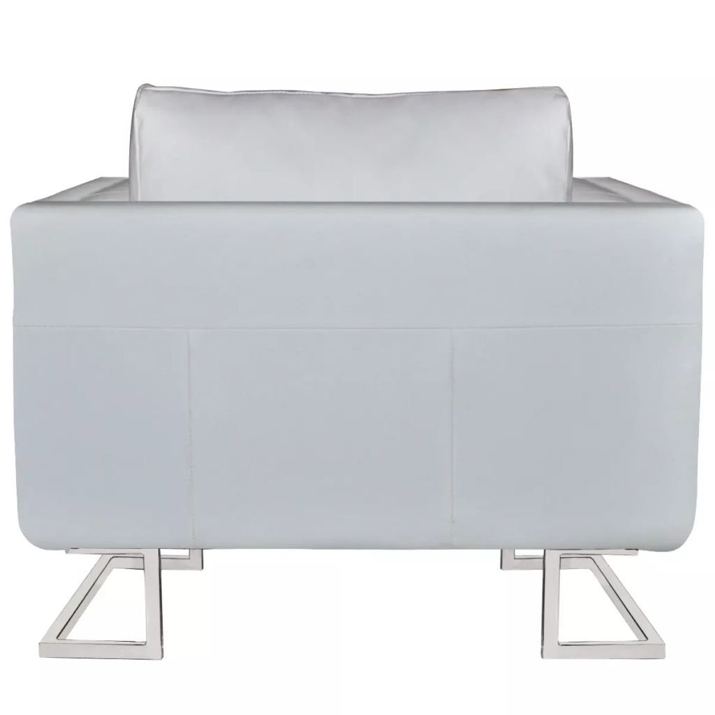 vidaXL Sillón Cuadrado Lujoso Patas Cromadas Cuero Artificial Blanco Asiento