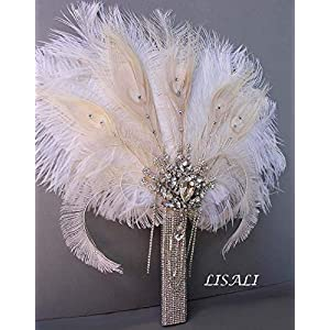 LISALI Crystal Luxury Bridal Ostrich Feather Bouquet, Bride Feather Fan, Bridal Brooch Bouquet, 20s Great Gatsby Vintage Wedding Bouquet 30