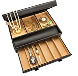 Stock Your Home Luxury Mens Dresser Valet Organizer for Watches, Jewelry & Accessories – Large Jewelry Holder & Display Case - Faux Leather - Chocolate