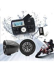12V Radio 3 inch Motorcycle ATV UTV Golf Cart Waterproof Anti-Theft Bluetooth Speaker USB TF U Disk FM Radio Stereo System (Black Star)