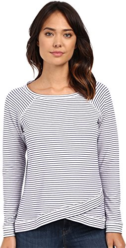 [NYDJ Women's French Terry Striped Sweatershirt, Optic White, Large] (Striped Envelope Neck Sweater)