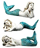 Chesapeake Bay Spa Blue Mermaids Laying Glittered Figurines Set of 3 Resin