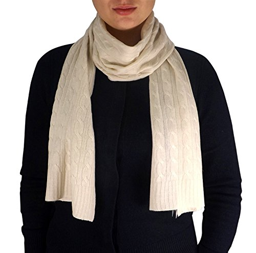 Peach Couture Wool Cashmere Lightweight Cable Knit Exclusive All Season Long Scarf (Off White) (White Scarf Wool)